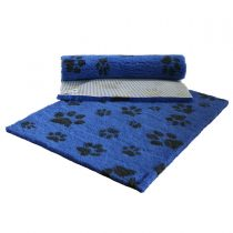 Blue + Charcoal Paw Print Vet Bed